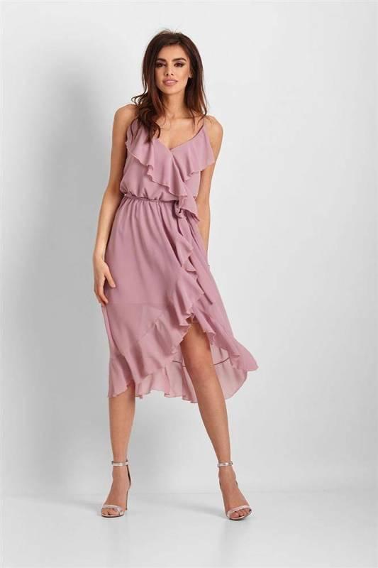 Szyfonowa asymetryczna  chantal midi różowa sukienka z falbanką