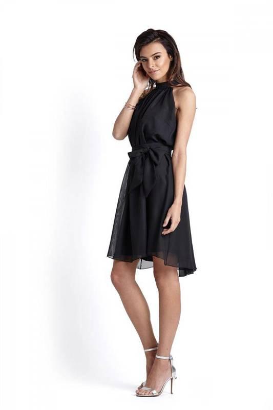 Szyfonowa  livia mała czarna koktajlowa sukienka na co dzień