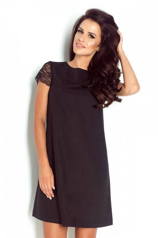 Trapezowa  betty z koronkowym rękawem mała czarna elegancka sukienka