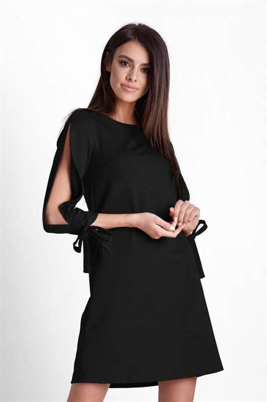 Trapezowa  diva mała czarna elegancka sukienka rozkloszowana do pracy