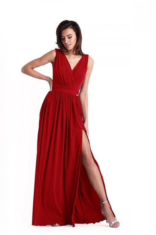 Wieczorowa  philippa długa czerwona sukienka rozkloszowana