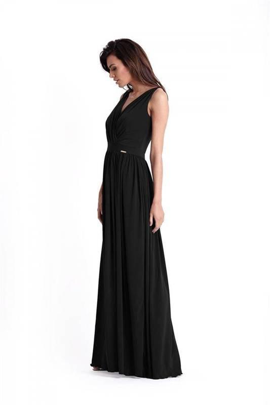Wieczorowa  philippa maxi czarna sukienka rozkloszowana